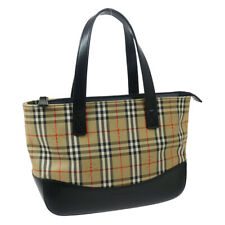 BURBERRY House Check Hand Tote Bag Beige Black Canvas Leather 33265