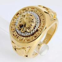 Vintage Lion Head Silver/Yellow Gold Plated Biker Rings Men's Animal Band Sz8-12