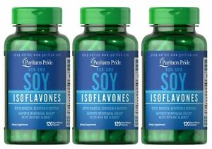 Puritan's Pride Non-GMO Soy Isoflavones 750 mg 120 (3-PACK) FATHER'S DAY SALE