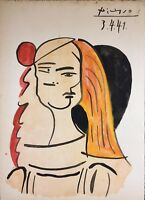 PABLO PICASSO HAND DRAWN, DATED AND SIGNED * ABSTRACT WOMAN * WATERCOLOR