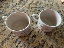 Longaberger Traditional Red Coffee Tea Flat Cups Woven Traditions Set Of 2