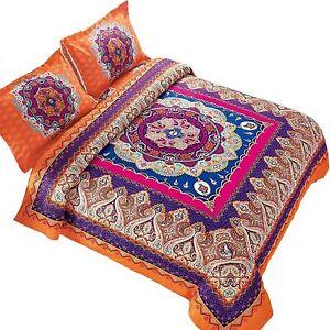 Wake In Cloud - Mandala Comforter Set, Orange Bohemian Boho Chic Medallion Patte
