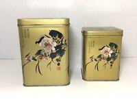 Vintage Chinese Tea Tin Floral Design Signed Hong Kong Gold Pink Tea Biscuit Box