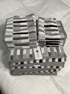 Mind On Design Ten 10 Piece White Gray Black Bathroom Towel Set 100% Cotton NWT
