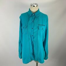 Harley-Davidson Motorcycles XL 1W Snap Button Long Sleeve Blue