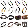 Fashion Men Women Multilayers Leather Bracelet Bangle Magnetic Buckles Wristband