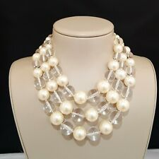SEQUIN NEW YORK CHUNKY LUCITE CLEAR WHITE FAUX PEARL MULTI LAYERED NECKLACE NWT