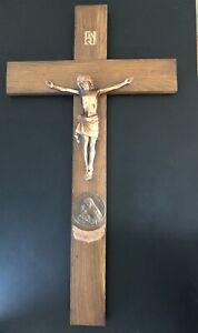 Jesus kreuz Holz Kupfer Messing SchwerGroß Inri 1854-1954 Marianisches Kruzifix