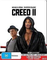 CREED 2 4K ULTRA HD & BLU RAY STEELBOOK - NEW & SEALED STALLONE JORDAN FREE POST