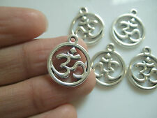 20 x Tibetan Silver Tone OHM / OM /AUM Double Sided Charms Pendants Beads 18mm