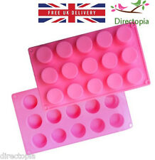 Silicone 15 Round Petit Cakes Confectionery Chocolate Soap Ice Baking Mould UK