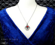 Ladies Girls Heart Pendant Necklace Gothic Style Red Heart Crystal by Alchemy