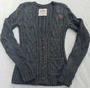 Hollister Womens Juniors Misses Size S Sweater V-neck button up Gray Grey Warm