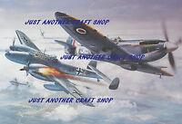 Roy Cross Airfix Spitfire MK 1X Messerschmitt ME 110 Poster Artwork A3 size