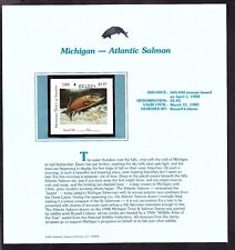 US 1988 Michigan Atlantic Salmon Fishing Stamp on Info Sheet