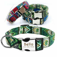 Boho Indian Personalized Dog Collar Pet Name ID Laser Engraved Metal Buckle S-L