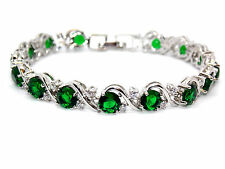 Silver Emerald And White Topaz 16ct Bracelet (925) Free Gift Box