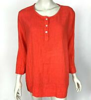 Hot Cotton USA Heavy Linen Long Sleeve Tunic Top Solid Salmon Red Women Large