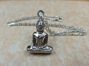 Large Buddha 3D - Tibetan Silver Tone Necklace Pendant with 19'' Chain