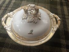 Stunning Antique Victorian Armorial Tureen With Goat Crest And Gilt Vines