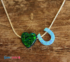 LOVE YOU Heart Charm Necklace Dark Green Opal Pendant Sterling Silver Choker 1pc