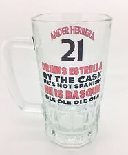 Ander Herrera United Manchester Football Novelty Pint Beer Glass Funny Stein