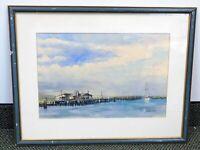 Jeanne Dobie Framed Original Watercolor Painting Ocean Dock Blue Sky Water Scene