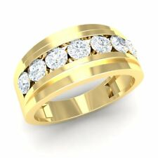 1ctw Round Cut Diamond Men's Channel Classic Wedding Band Solid 14K Yellow Gold