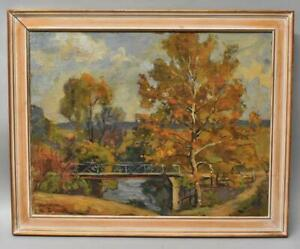 Oil Painting Fall Landscape Bridge By Earl North