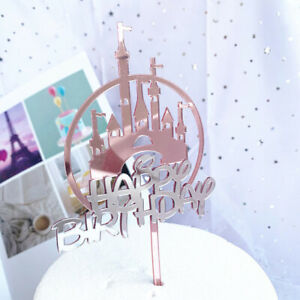 Baking Cake Decoration Acrylic Castles Cake Topper Happy Birthday Cupcake Vh