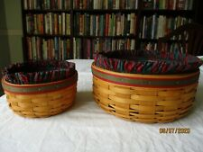 New Listing2 Longaberger Baskets: Keeping and Button W/ Plaid Liners & Protectors