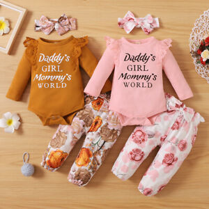 3Pcs Newborn Baby Girl Long Sleeve Romper Tops Floral Pants Clothes Outfits Suit