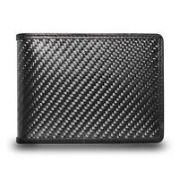 CarBeyondStore Real Premium Black Carbon Fiber Bi-fold Wallet with RFID Blocking