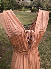 Vintage 70's Apricot Grecian, Prom,Disco, V Neck, Maxi Dress by Jody T of Calif.