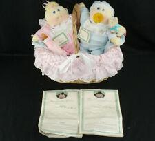1985 Xavier Roberts Cabbage Patch Kids Preemie Twins Soft Sculpture w/Basket ++