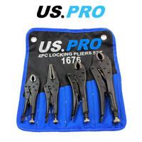 "US PRO 4pc Locking Pliers Set 5"" 6.5"" 7"" 10"" Mole Vice Clamp 1676"