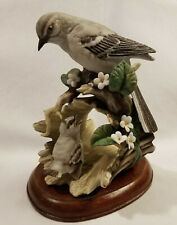 Homco Home Interiors Retired Mocking Bird & Baby w/ Wooden Stand