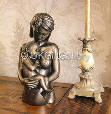 Proud Mother Holding Baby Statue Cold Cast Bronze Art Sculpture Decorative