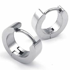 MENDINO Men's Stainless Steel Stud Hoop Earrings Charm Elegant Silver Gold Black