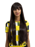 100% Human Hair Natural Long Straight Dark Brown Fashion Women's Wig