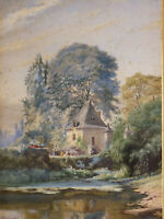Large Watercolour Signature Located in Laval (Mayan) Landscape Lake 1884
