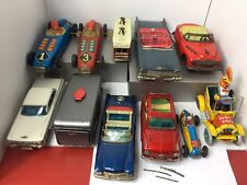 Vintage TIN LITHO Cars Cadillacs Friction Wind-up  Japan  Lot Of 11 Tin Toy Cars