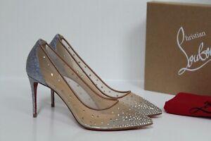 New sz 8.5 / 39 Christian Louboutin Follies Strass Silver Crystal Mesh Pump Shoe