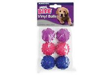 Ancol Small Bite Dog Puppy Vinyl Balls 6 Pack Chew Fetch Toys 4.5cm