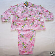 Disney Tinkerbell Girls Pink Printed Flannel Pyjama Set Size 6 New