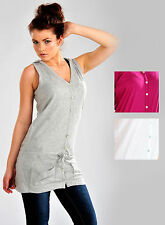 Women Hooded Sleeveless Slouch Wasitcoat Top Grey White Pink Ladies New UK S M L