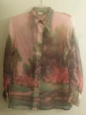 Vintage Contempo of CA Sheer Pink Blouse Size M Thomas Kinkade Golden Girls 80's