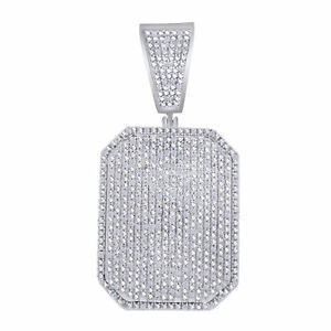 Diamond Simulated Dog Tag Pendant 14K White Gold Over Sterling
