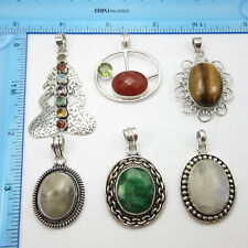 WOMEN'S JEWELRY !! 925 Silver Plated 6 Pieces Pendants LOT ONLINE FREE SHIPPING