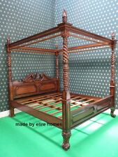 UK STOCK ~ Super King Size four poster mahogany wood Queen anne style bedframe